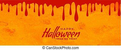 design, baner, halloween, skrämmande, drypande, blod