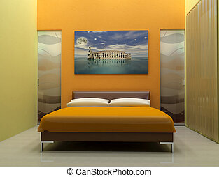 bedroom - design bedroom with artistic picture-digital...