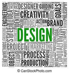 design, begriff, in, etikett, wolke