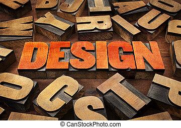 design, begriff, in, holz, art