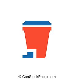design bin icon blue and orange