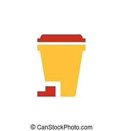 design bin icon yellow and red color