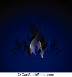 Design blue fire flame element with smoke