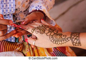 design, blume, gemälde, henna, hand