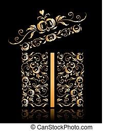 design, blumen-, geschenk, geöffnet, kasten, stilisiert, verzierung