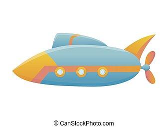 design., bodem, zee, stijl, blauwe , duikboot, onderzees, onderwater, scheeps , duiken, vector, spotprent, gele, plat, ontdekkingsreis, bathyscaphe