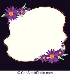 Design business concept Empty copy space modern abstract background Blank Uneven Color Shape with Flowers Border for Cards Invitation Ads