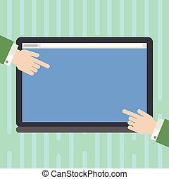 Design business concept Empty copy space modern abstract background Hu analysis Hands from Both Sides Pointing on a Blank Color Tablet Screen
