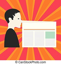 Design business concept Empty copy space modern abstract background Man with a Very Long Nose like Pinocchio a Blank Newspaper is attached