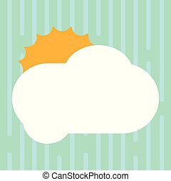 Design business concept Empty copy space modern abstract background Sun Hiding Shining Behind Blank Fluffy Color Cloud Vector for Poster Ads