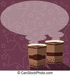 Design business concept Empty copy space modern abstract background Two To Go Cup with Beverage and Steam icon Blank Speech Bubble Vector
