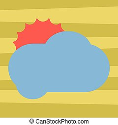 Design business concept Empty copy text for Web banners promotional material mock up template Sun Hiding Shining Behind Blank Fluffy Color Cloud Vector for Poster Ads