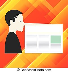 Design business concept Empty template copy space text for Ad website isolated Man with a Very Long Nose like Pinocchio a Blank Newspaper is attached