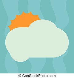 Design business concept Empty template copy space text for Ad website isolated Sun Hiding Shining Behind Blank Fluffy Color Cloud Vector for Poster Ads