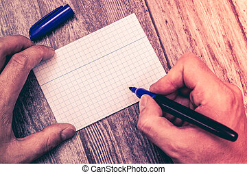 Design business Empty copy space text for Ad website promotion isolated Banner template Huanalysis Hand Holding Marker Pen Writing on Blank Index Sized Graph Paper