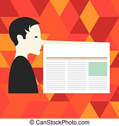 Design business Empty copy space text for Ad website promotion isolated Banner template Man with a Very Long Nose like Pinocchio a Blank Newspaper is attached
