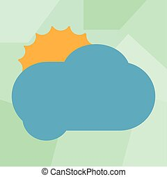 Design business Empty copy space text for Ad website promotion isolated Banner template Sun Hiding Shining Behind Blank Fluffy Color Cloud Vector for Poster Ads