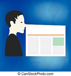 Design business Empty template isolated Minimalist graphic layout template for advertising Man with a Very Long Nose like Pinocchio a Blank Newspaper is attached