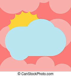 Design business Empty template isolated Minimalist graphic layout template for advertising Sun Hiding Shining Behind Blank Fluffy Color Cloud Vector for Poster Ads