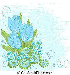 Design card  of vector tulips. (Flower background)
