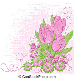 Design card  of vector tulips. (Flower background)