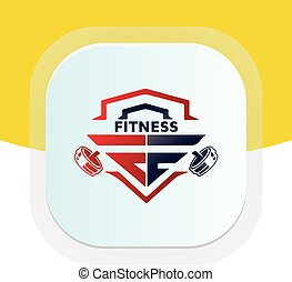 design., carta, físico, icon., vector, condición física, dumbbell, logotipo, pe