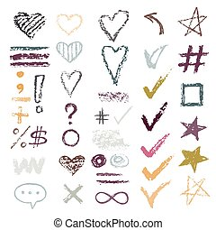 Set chalk vector textures. Collection hand drawn chalk textures elements. Pastel pencil. Hearts, stars, hash tag, stripes, brushes, zigzags, scribble, check marks. Crayon pencil strokes elements.
