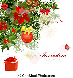 Design Christmas card with fir