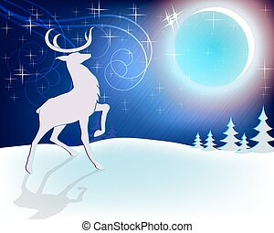 Design Christmas deer with moon