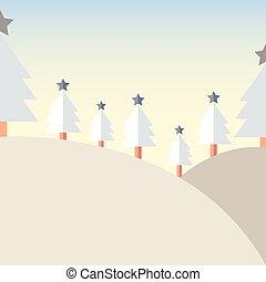 Design Christmas tree on Mountain with snow