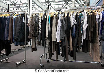 Design clothes hang at  demonstration stand in showroom