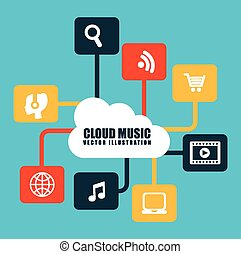 design - cloud music design, vector illustration eps10...