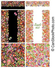 Design collection with colorful ethnic flowers and paisley pattern