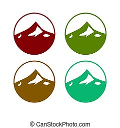 Design colorful Mountains, 4 artwork in various colors
