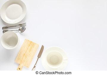 Design concept of mockup various kitchenware utensils set on...
