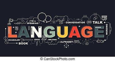 Design Concept Of Word LANGUAGE Website Banner.