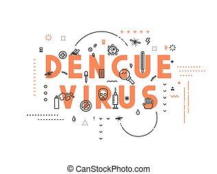 Design concept virus of dengue. Modern line style...