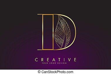 design., contour, icône, câble, concept, doré, d, feuille, lettre, logo