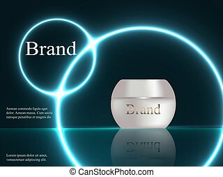 Design cosmetics, cream, white and pearly colors on a dark background with bright neon lights, advertising, poster, banner, 3D, vector