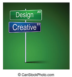 Design creative direction road sign.