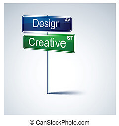 Design creative direction road sign. - Vector direction road...