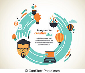 Design, creative, idea and innovation concept