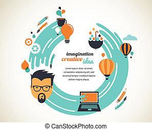 Design, creative, idea and innovation concept