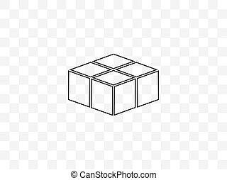 design., cube, icon., plat, vecteur, illustration, boîte