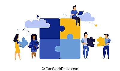 design., deel, partner., concept, samenwerking, illustratie, raadsel, werken, samen, teamwork, samenwerking, strategie, mensen, oplossing, groep, team, handel voorstelling, jigsaw, vector, connect., vennootschap