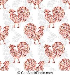 design:, design., (fire, doodle, cock)., seamless, textuur, nieuw, 2017, rooster-, symbool, web, stylized, illustratie, doek, floral, behang, wrapping., jaar, vector, model, suitable