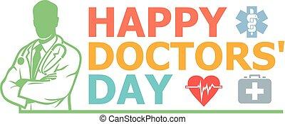 design, doktoren, glücklich, tag