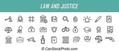 design., droit & loi, vecteur, icônes, icons., illustration...