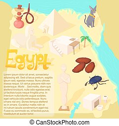 Design Egypt map travel and landmark concept