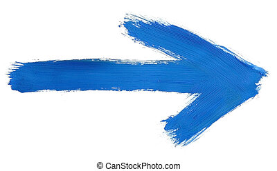 design element - blue hand painted arrow isolated on pure white background, clearly visible traces of brush strokes
